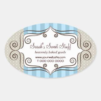 Azul y lunares dulces pegatina ovalada