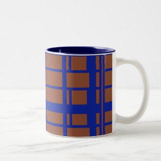 azul y marrón taza de café