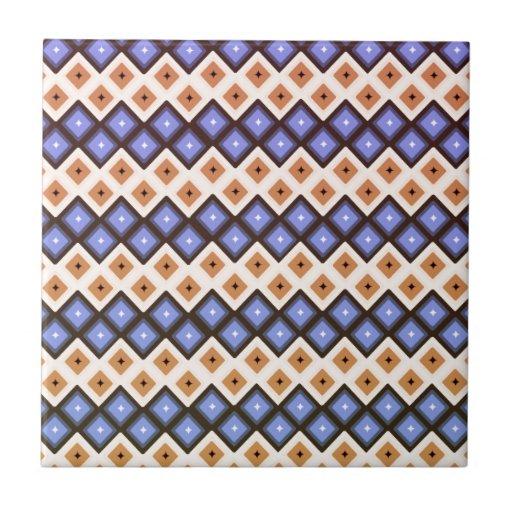 Azul y melocotón azulejo cuadrado pequeño