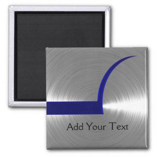Azul y metal cepillado plata imán cuadrado