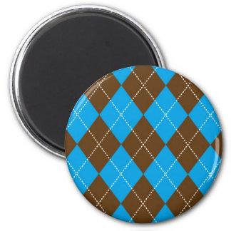 Azul y modelo de Brown Argyle Imán Redondo 5 Cm