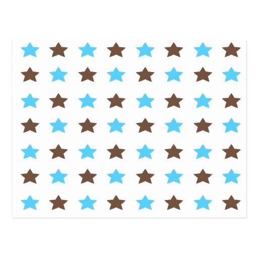 Azul y modelo de estrella de Brown Tarjeta Postal