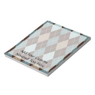 Azul y modelo de la moda de Brown Argyle Blocs De Notas