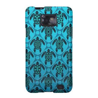 Azul y modelo de la tortuga del Mar Negro Samsung Galaxy S2 Carcasa