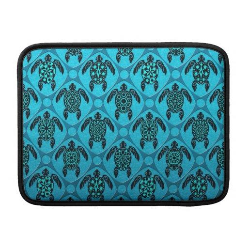 Azul y modelo de la tortuga del Mar Negro Funda Macbook Air
