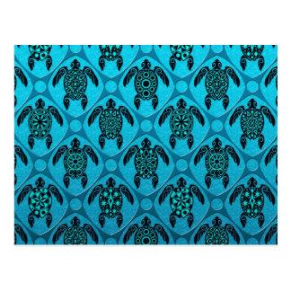 Azul y modelo de la tortuga del Mar Negro Tarjetas Postales