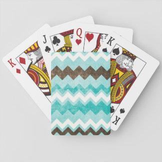 Azul y modelo modernos de Brown Chevron Cartas De Póquer