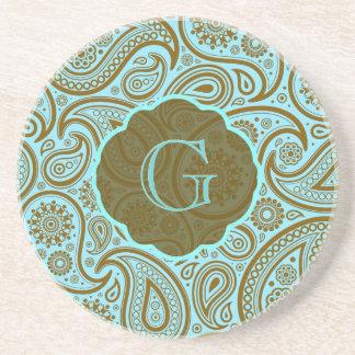 Azul y Modelo-Monograma retro de Brown Paisley Posavasos Personalizados