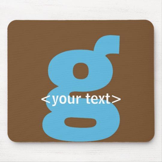 Azul y monograma de Brown - letra G Tapetes De Raton
