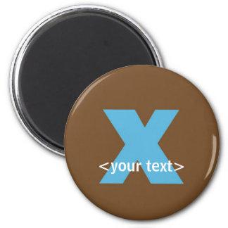 Azul y monograma de Brown - letra X Imán Redondo 5 Cm