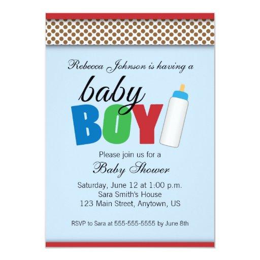 """Azul y muchacho de la fiesta de bienvenida al bebé invitación 4.5"""" x 6.25"""""""