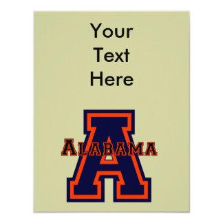 """Azul y naranja de Alabama """"A"""" Invitaciones Personales"""