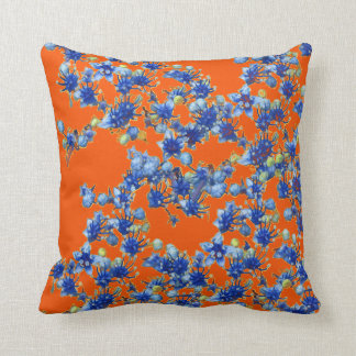azul y naranja del hydrangea cojines