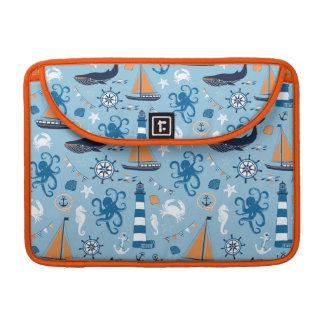 Azul y naranja náuticos de océano funda para macbooks