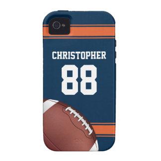 Azul y naranja raya fútbol del hierro de la iPhone 4 funda