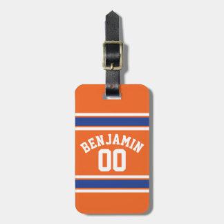 Azul y naranja se divierte número conocido de etiquetas maleta