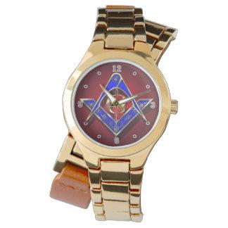 Azul y oro cuadrados de los compases de McKim Reloj