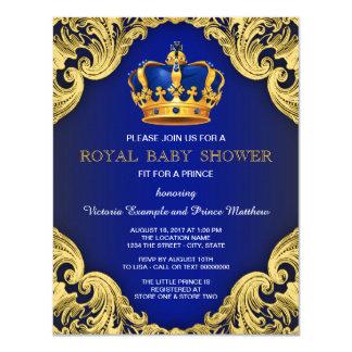 """Azul y oro de lujo del príncipe fiesta de invitación 4.25"""" x 5.5"""""""
