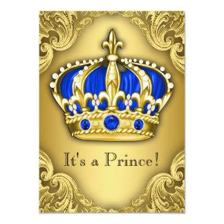 """Azul y oro de lujo del príncipe fiesta de invitación 4.5"""" x 6.25"""""""