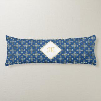 Azul y oro de lujo Quatre del monograma floral Almohada