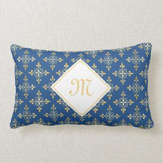 Azul y oro de lujo Quatre del monograma floral Cojín