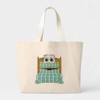Azul y oro del dibujo animado de la cama bolsa lienzo