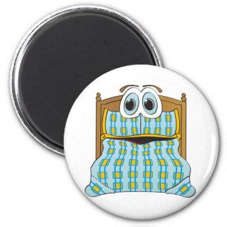 Azul y oro del dibujo animado de la cama imán de nevera