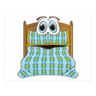 Azul y oro del dibujo animado de la cama postales