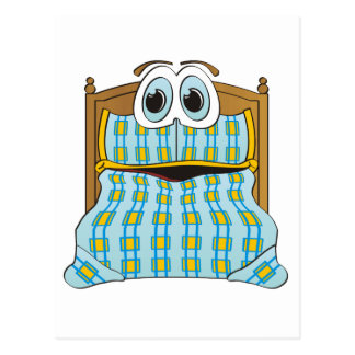 Azul y oro del dibujo animado de la cama tarjeta postal