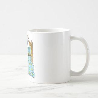 Azul y oro del dibujo animado de la cama taza de café