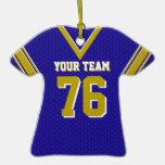 Azul y oro del jersey del fútbol ornamento para arbol de navidad