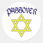 Azul y oro del Passover Etiquetas Redondas