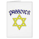 Azul y oro del Passover Tarjetas