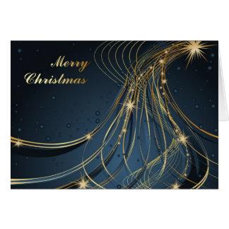 Azul y oro elegantes tarjeta de felicitación