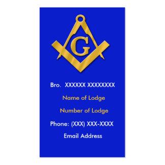 Azul y oro masónicos del negocio tarjeta de visita