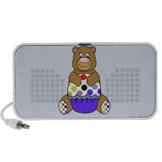 Azul y oso de Brown Polkadot iPod Altavoz