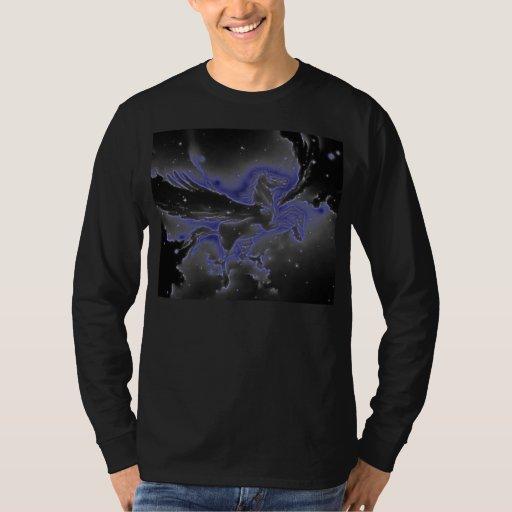Azul y Pegaso con alas negro Polera