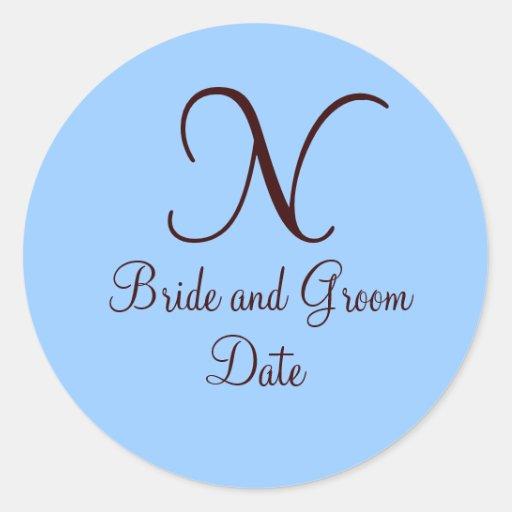 Azul y pegatina del favor del boda del monograma