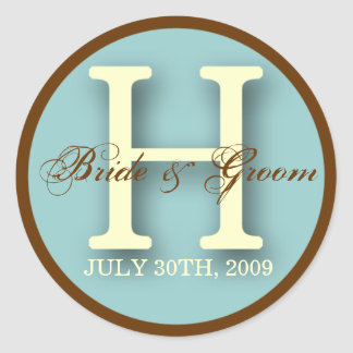 Azul y pegatina del monograma H de Brown