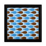 Azul y pescados de Brown Cajas De Joyas