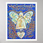 Azul y poster del ángel del cáncer del oro (borde
