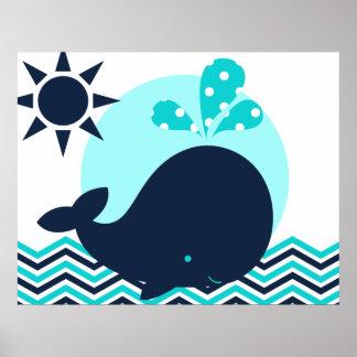 Azul y poster del cuarto de niños de la ballena de