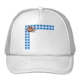 Azul y postre comprobado blanco de la tela escoces gorros bordados