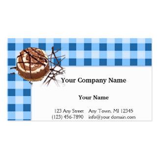 Azul y postre comprobado blanco de la tela escoces tarjeta de negocio