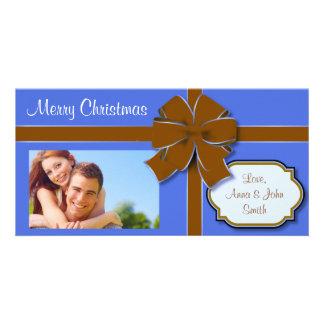 Azul y presente envuelto Brown Tarjeta Con Foto Personalizada