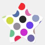 Azul y puntos coloridos de Brown Pegatinas Forma De Estrellaes Personalizadas