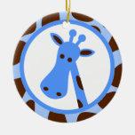 Azul y puntos de la jirafa de Brown y cabeza de la Ornamente De Reyes