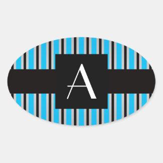 Azul y rayas negras del monograma pegatinas oval personalizadas