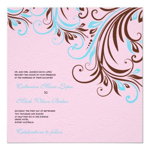 Azul y remolinos de Brown - el boda invita Invitación 13,3 Cm X 13,3cm