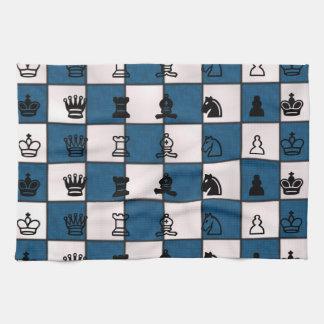 Azul y tablero y pedazos veteados blanco de ajedre toallas de cocina